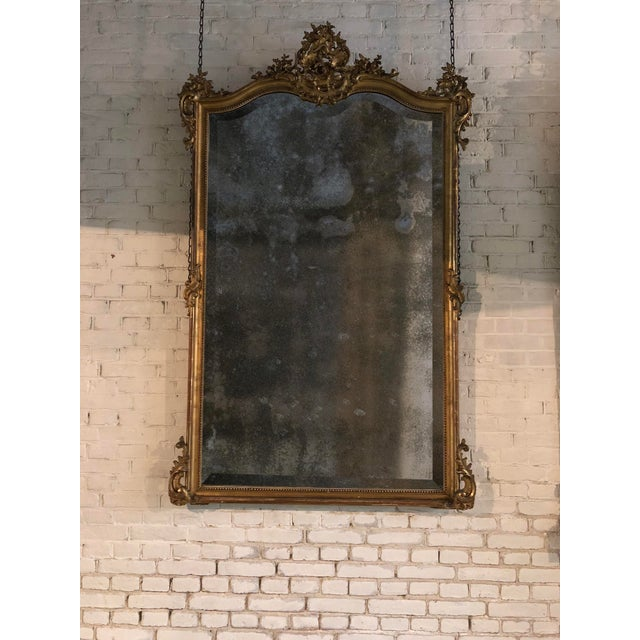 Glass 19th Century Mirror in the Style of Louis XV For Sale - Image 7 of 8