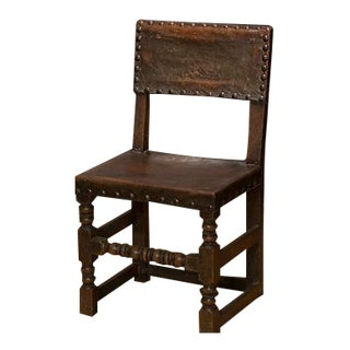 17th Century English Side Chair With Leather Seat For Sale