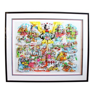 Mickey's World Tour 3d Framed Art by Charles Fazzino For Sale