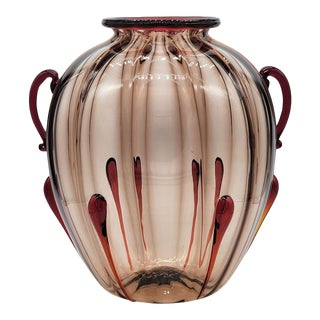 Vintage 1940s Large Murano Glass Costolato Vase After Martinuzzi For Sale