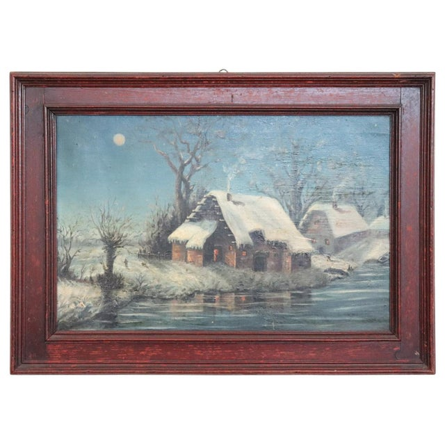 20th Century Italian Oil Painting on Canvas Winter Landscape For Sale - Image 10 of 10