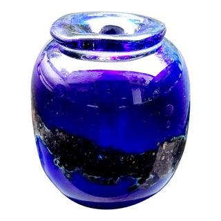 Vintage Hand Blown Art Glass Vase For Sale