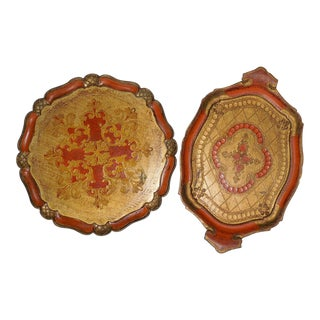 Vintage Florentine Trays - A Pair For Sale