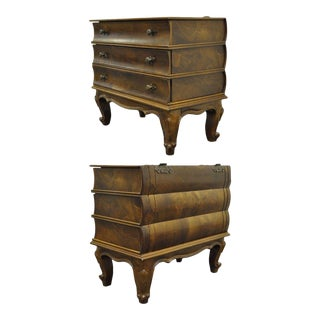 Vintage Italian Patchwork Burl Olive Wood Book Form Side Table Chest Bamberger's For Sale