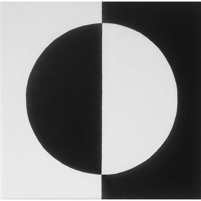 Modern Mirror Black & White Painting - Image 1 of 4