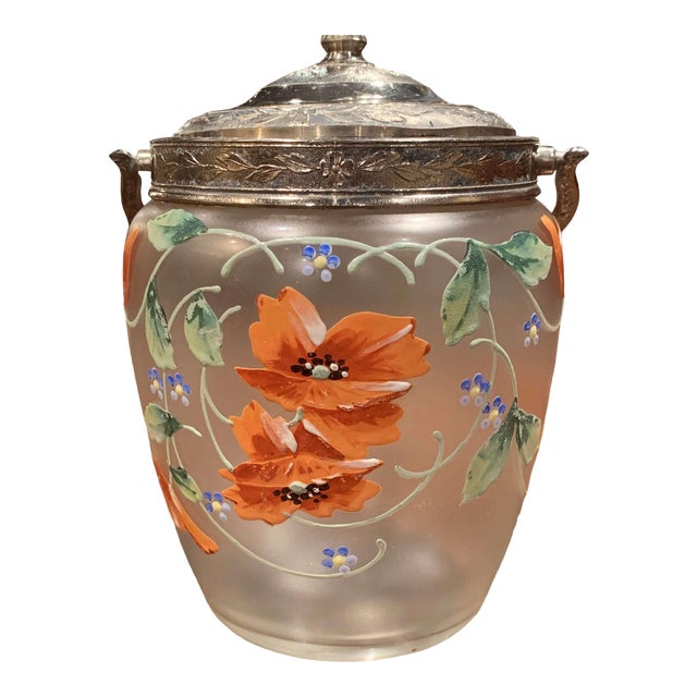 Early 20th Century Silver Plated and Painted Frosted Glass Candy Jar With Lid For Sale