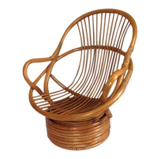 Vintage Rattan Bamboo Swivel Rocker Lounge Chair For Sale
