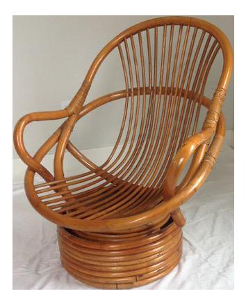 Vintage Rattan Bamboo Swivel Rocker Lounge Chair