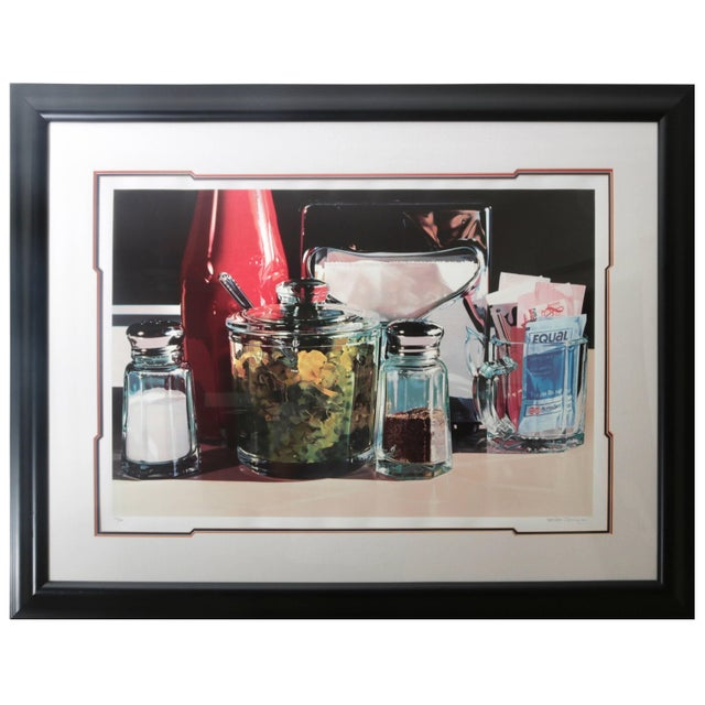 Black Framed Lithograph Still Life of an American Diner Table Scape by Ralph Goings Ltd Ed For Sale - Image 8 of 8