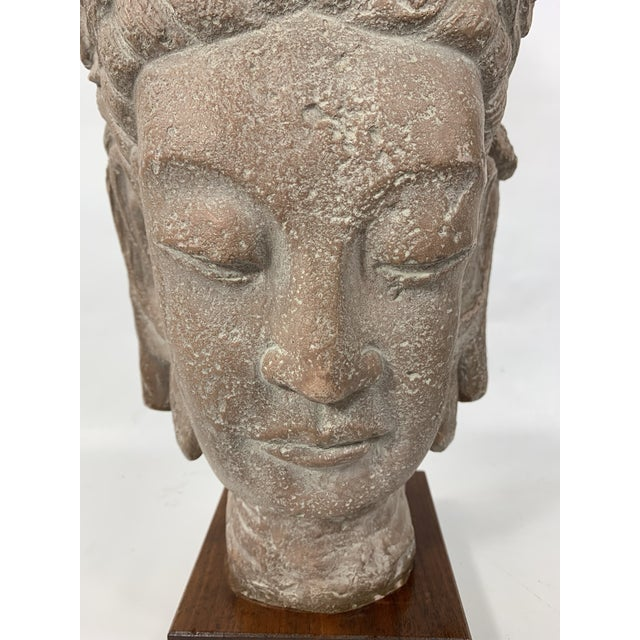 Religious 1960s Vintage Austin Productions Guan Yin Buddha Goddess Stone Bust For Sale - Image 3 of 13