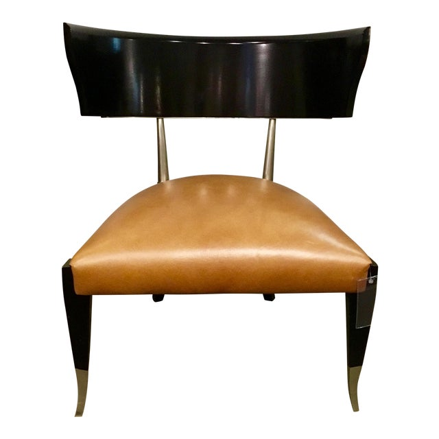 Caracole Modern Cognac Leather Klismos Chair For Sale