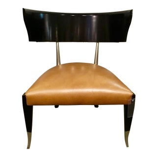 Caracole Modern Leather Klismos Chair For Sale