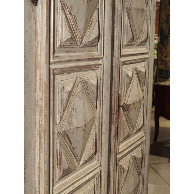 Wood Painted 17th Century French Oak Diamond Point Armoire For Sale - Image 7 of 13