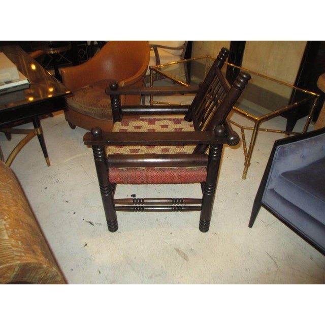 French Unusual Pair of Spindle Back Armchairs with Woven Seats For Sale - Image 3 of 7