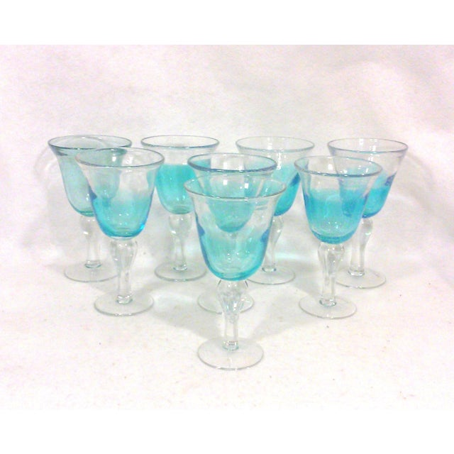 Blue Ombre Hand Blown Goblets - Set of Eight - Image 2 of 4