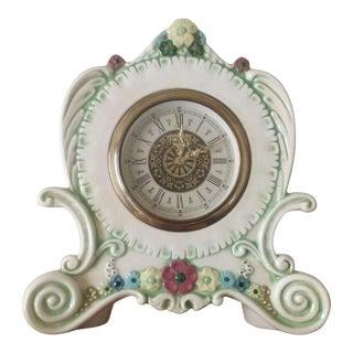 Vintage German Porcelain Hand Painted Wind-Up Mantle Clock For Sale