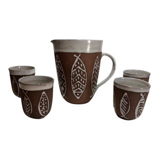 Pottery Art Beverage Pitcher & Cups - Set of 5