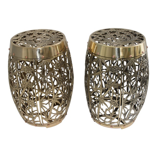 Garden Stools Bamboo Crane Bird Cherry Blossom Motif in Polished Brass Fretwork - a Pair For Sale