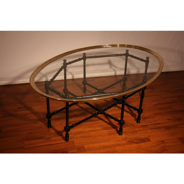 Mid 20th Century Chippendale Baker Designs Glass and Brass Bamboo Coffee Table For Sale - Image 5 of 5