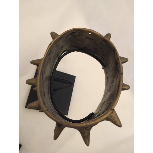 Early 20th Century Mounted Brass Spiked Cuffs - a Pair For Sale - Image 5 of 6