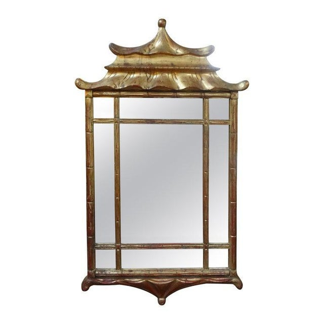 Italian Giltwood Chinese Chippendale Style or Chinoiserie Pagoda Mirror For Sale - Image 11 of 12