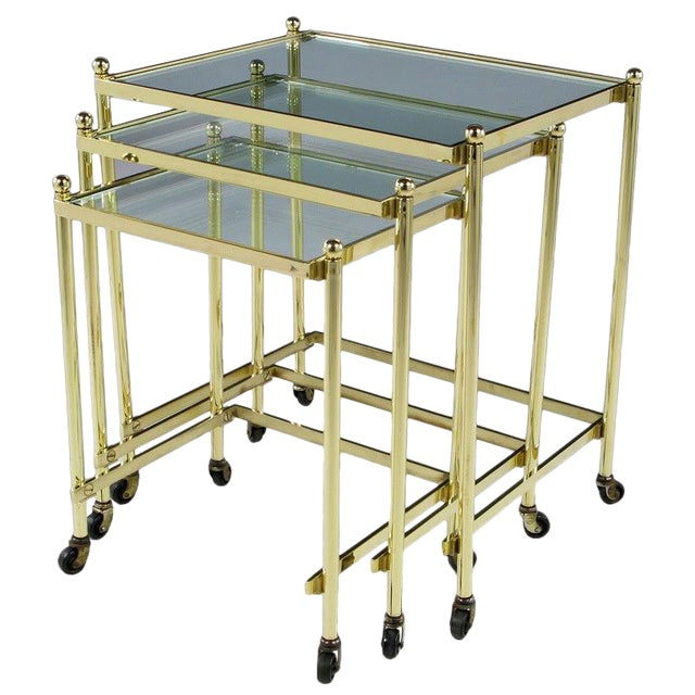 Solid Brass Set of Three Nesting Tables in the Manner of Jansen For Sale