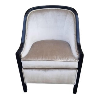 Contemporary Designer Ebonized Wood Barrel Back Accent Chair Newly Upholstered For Sale