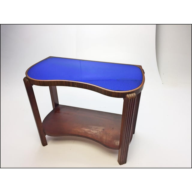 Art Deco Kidney Shaped Cocktail Table With Blue Mirrored