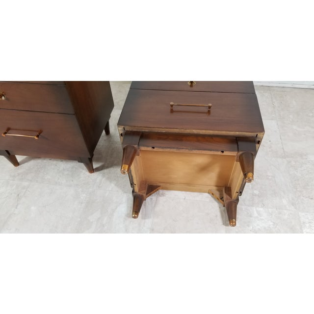 Brown 1970s Modern Walnut Nightstands - a Pair For Sale - Image 8 of 13