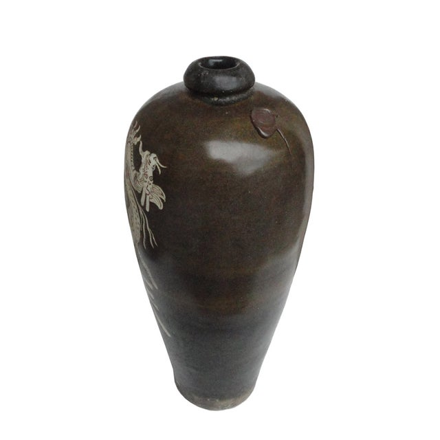 Chinese Brown Porcelain Graphic Vase - Image 2 of 4