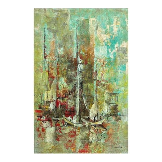 """Danny Garcia """"Docked Sailboats"""" #941, Large Expressionist Painting, 1965 For Sale"""