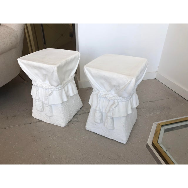 2000s Pair of White Composition Tables -Style of John Dickinson For Sale - Image 5 of 6
