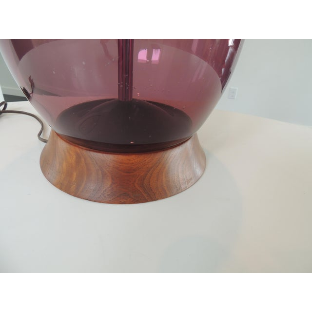 Mid Century Modern Blenko Purple Glass and Walnut Table Lamp. Not %100 sure it is Blenko but the glass is handblow, you...