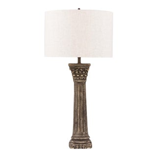 French Corinthian Column Stone Lamp With Shade For Sale