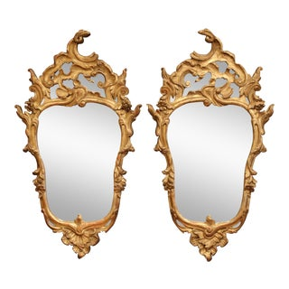 18th Century Italian Carved Giltwood Mirrors With Original Mercury Glass - a Pair For Sale