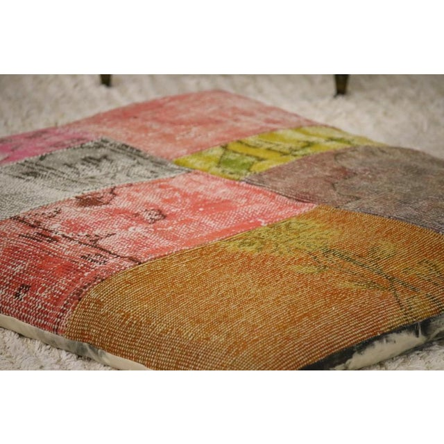 Contemporary Designer Patchwork Floor Pillow For Sale - Image 3 of 4