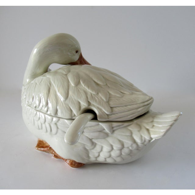 Ceramic Vintage Fitz & Floyd Duck Ceramic Soup Tureen With Ladle For Sale - Image 7 of 13