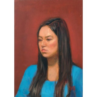 Girl With Long Hair Portrait Painting For Sale