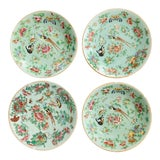 Image of Antique Wucai Qing, Circa 1820, Chinese Porcelain Plates Celadon Glaze Hand-Painted Butterflies - Set of 4 For Sale