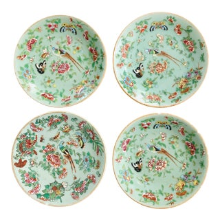 Antique Wucai Qing, Circa 1820, Chinese Porcelain Plates Celadon Glaze Hand-Painted Butterflies - Set of 4 For Sale