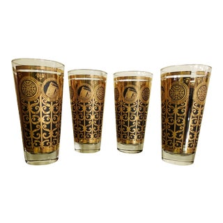 Mid-Century 1965 Libbey Black and Gold Glasses - Set of 4 For Sale