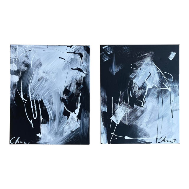 """""""Dance"""" Original Christian Siriano Paintings - Set of 2 For Sale"""