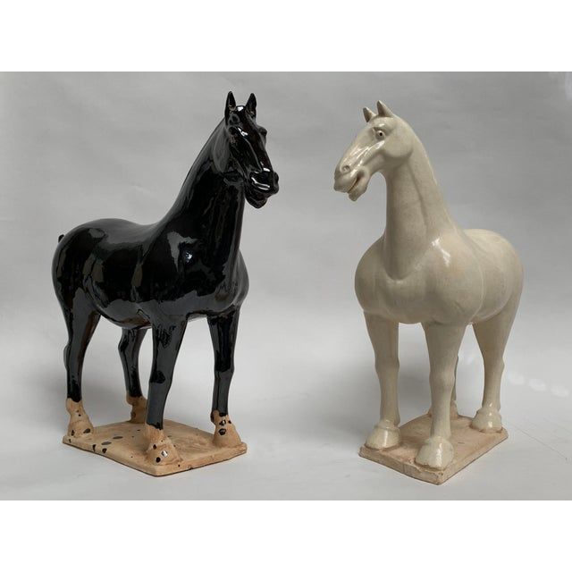 1980s Gump's San Francisco Oversized Terra Cotta Tang Dynasty Style Horses - a Pair For Sale - Image 13 of 13