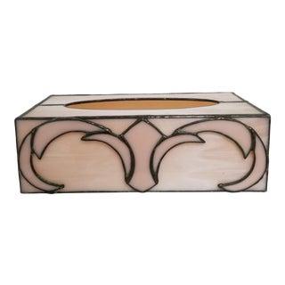 Vintage 1980's Art Deco Style Slag Glass Tissue Box Cover For Sale
