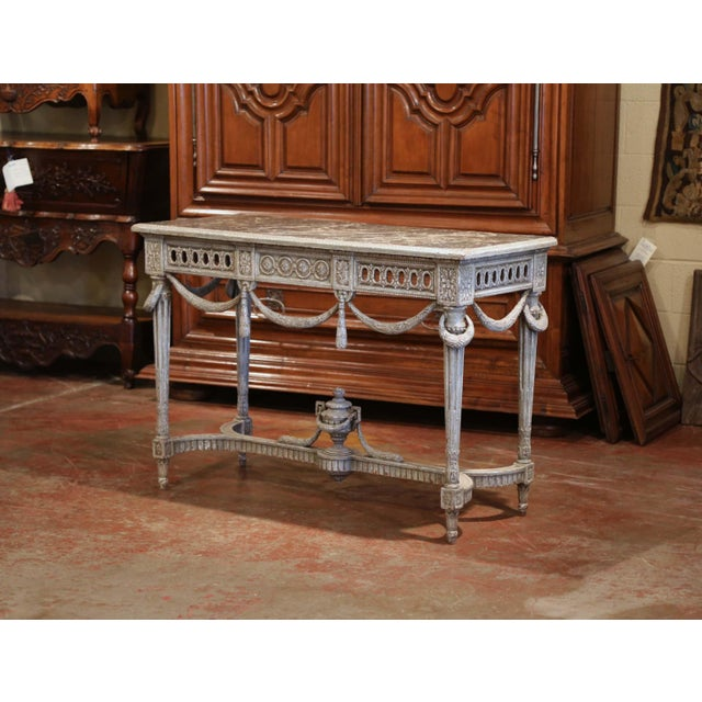 French Pair of 19th Century French Carved Painted Consoles Tables With Faux Marble Top For Sale - Image 3 of 12