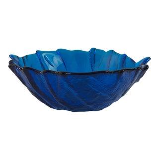Mid-Century Modern Blenko Blue Glass Cabbage Leaf Serving Bowl