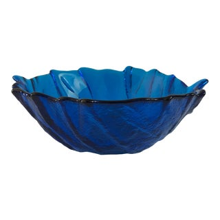 Mid-Century Modern Large Blenko Blue Glass Cabbage Leaf Serving Bowl For Sale