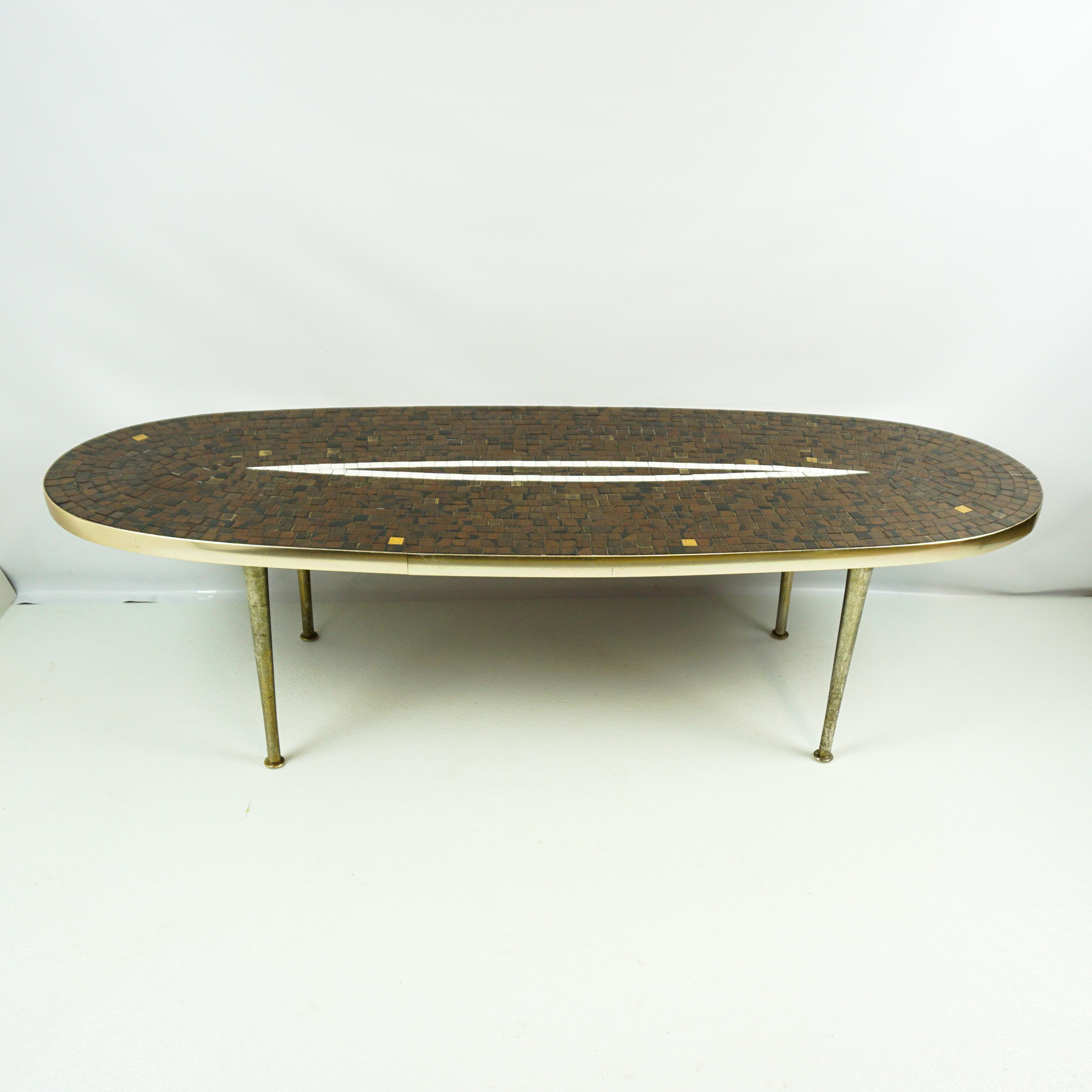Superbe Unusual Mosaic Tile And Metal Oval Mid Centuy Coffee Table, Surfboard Style.  Done In