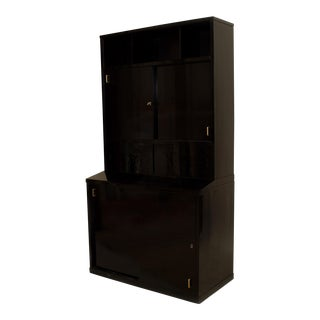French Art Deco Ebonized (2 Section) Bookcase Cabinet