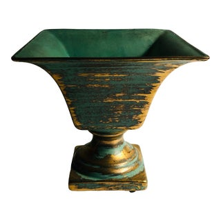 Contemporary Turquoise & Gold Unsigned Stangl Pottery Vase For Sale